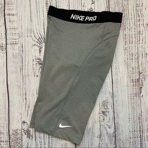 "Nike Pro Gray Women's Core 11"" Compression Shorts."